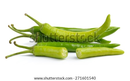 Green peppers isolated on white background - stock photo