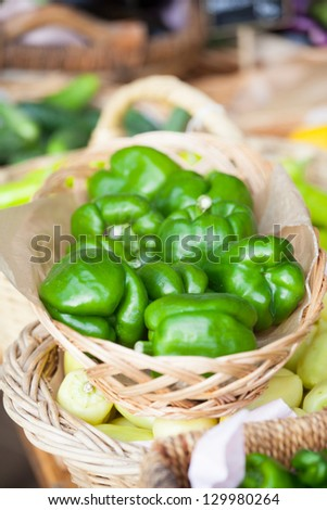 Green peppers ready for sale - stock photo