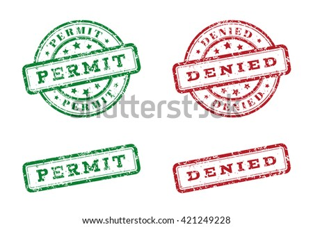Green permit logo stamp and red denied logo stamp. grunge style on white background. illustration. template for web design. infographics Raster version - stock photo
