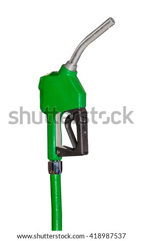 Green petrol gun at the gas station isolated on white