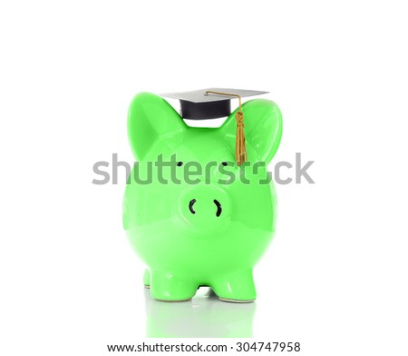 Green piggy bank with graduation cap, isolated on white                                - stock photo