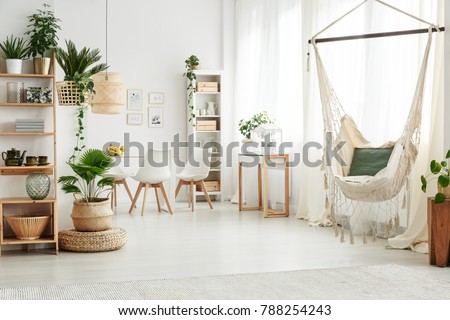 Green Pillow On A Hammock And Plant On Pouf In Bright Living Room Interior  With White