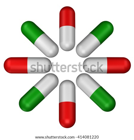 Green pills and red pills, isolated on white background. 3D rendering.