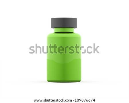 Green pills bottle rendered isolated on white background - stock photo