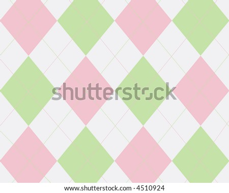 Green, pink and white argyle