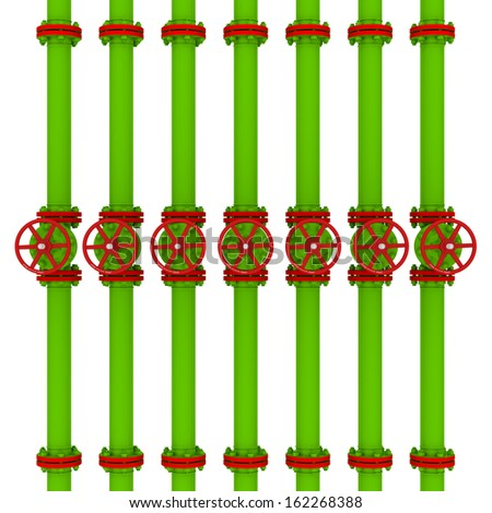 Green pipes and valves. Isolated render on a white background - stock photo