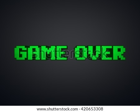 Green pixel text Game Over on screen - computer game symbol 3d render - stock photo