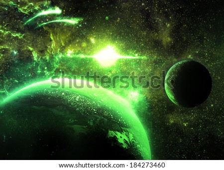 Green Planet and Moon Over a glowing Star - Elements of this image furnished by NASA
