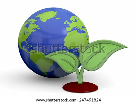 Green Planet Concept on white background - stock photo