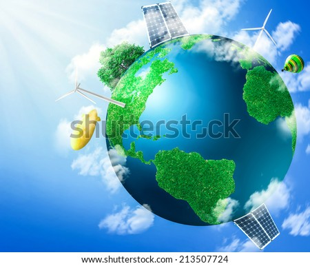 Green planet earth with solar energy batteries, panels installed on it. Sustainable source of electricity, power supply concept. Eco, environmentally friendly technology approach - stock photo