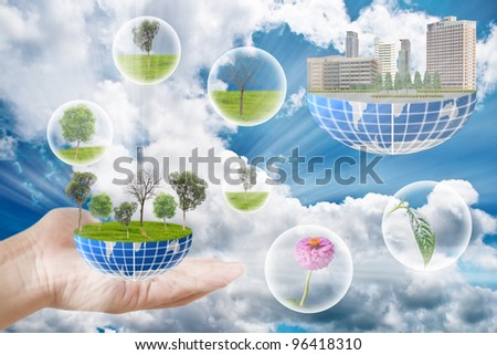Green planet for the earth. - stock photo