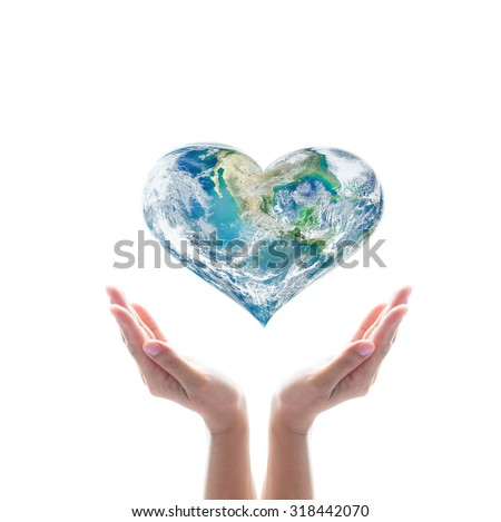 Green planet in heart shape over woman human hands isolated on white background: World health day idea symbolic concept campaign to promote health awareness: Elements of this image furnished by NASA - stock photo