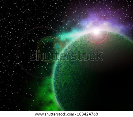 Green Planet in Space Background - stock photo