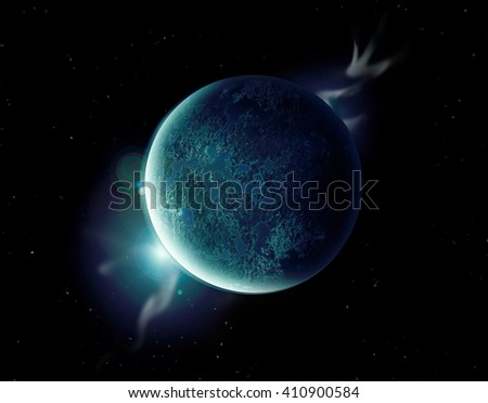 green planet in the universe with aura and stars.