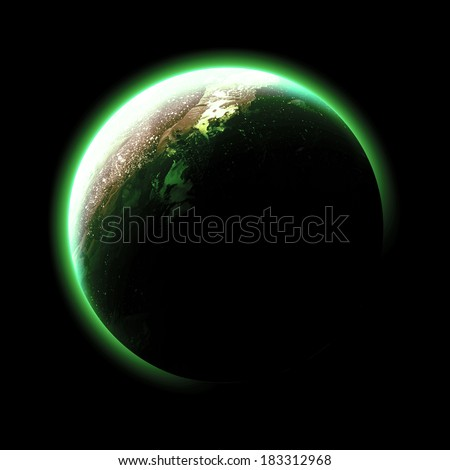 Green Planet Isolated - Elements of this image furnished by NASA  - stock photo