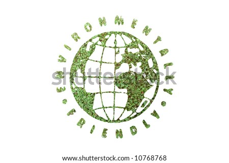 Green plant globe surrounded by Environmentally Friendly text superimposed on green plant - clean planet concept