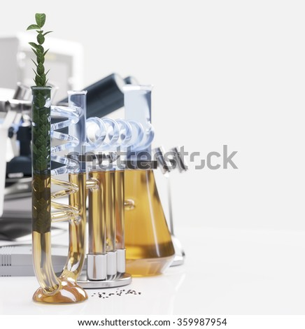 green plant in chemical laboratory science and technology concept background - stock photo