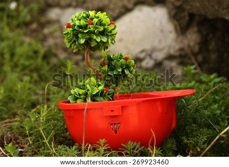 Green plant in  helmet- environmental friendly industry concept - stock photo