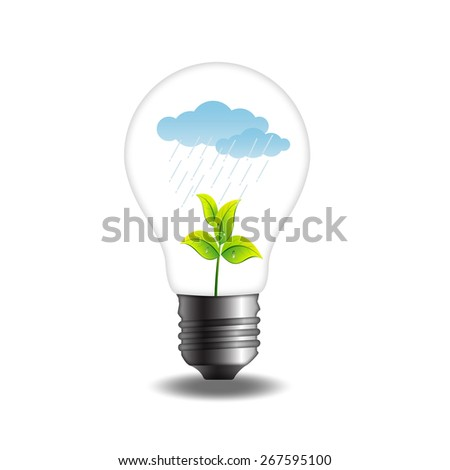 Green plant with rainy cloud in bulb.