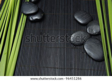 Green plant with zen stones on mat - stock photo