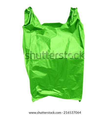 Green plastic bag isolated on white  - stock photo
