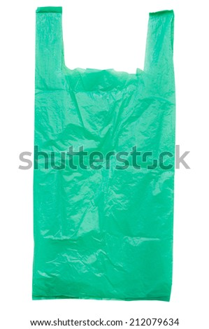 Green plastic bag isolated on white with clipping path. - stock photo