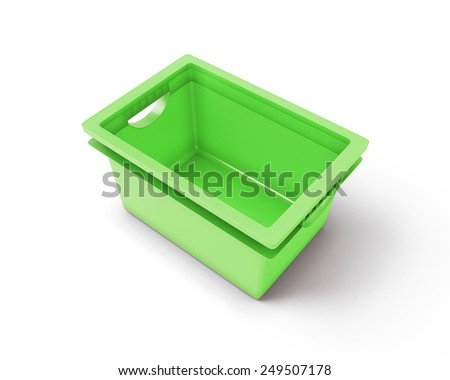 Green plastic box isolated on white background. 3d render image.