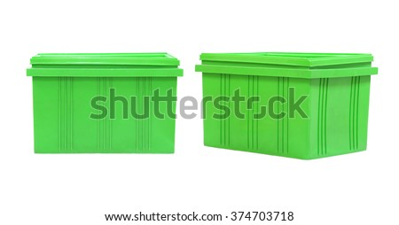 Green Plastic box Packaging of finished goods on white background and have clipping paths.