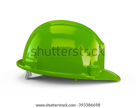 Green plastic construction helmet isolated on white background.
