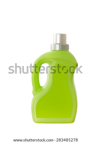 Green plastic container isolated on white background - stock photo