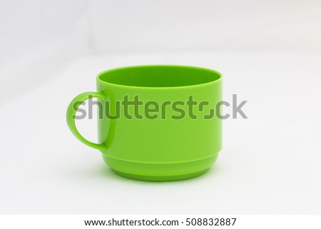 Green plastic cup