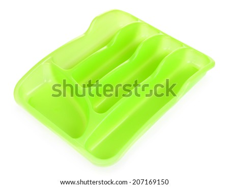 Green plastic cutlery tray isolated on white - stock photo
