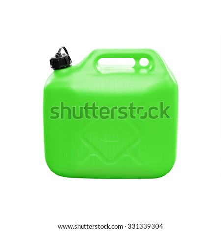 Green plastic jerrycan isolated on white background