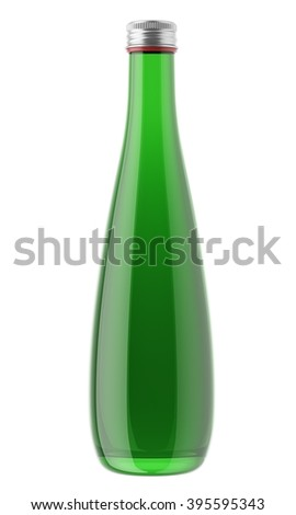 Green plastic or glass bottle isolated on white background. 3D Mock up for your design. Beer, shampoo, conditioner, shower gel, cosmetics, beverage, lemonade, soda, juice, liquor, syrup, wine.