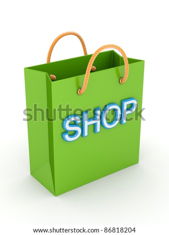 Green plastic package with a big word SHOP.Isolated on white background.3d rendered. - stock photo