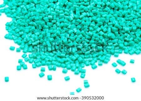 Green plastic polymer granules.