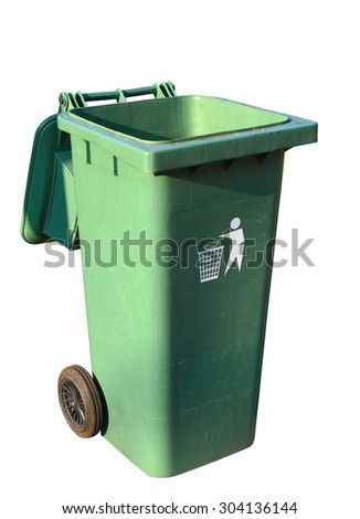 Green plastic recycle bin isolated on white background, clipping path. - stock photo