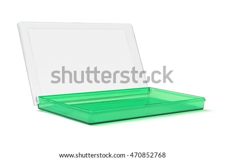 Green Plastic Stationery Box on White Background