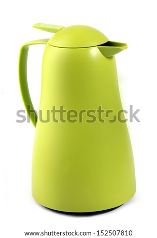 Green plastic thermos flask on white background - stock photo