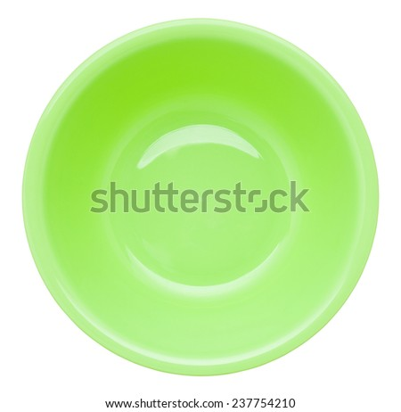 green plastic wash bowl isolated on white - stock photo