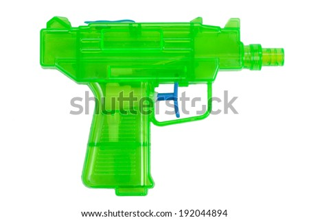 Green plastic water pistol isolated on a white background - stock photo