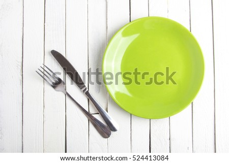Green Plate vintage rustic white background