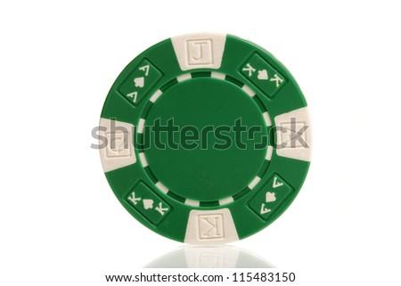 green poker chips on white - stock photo