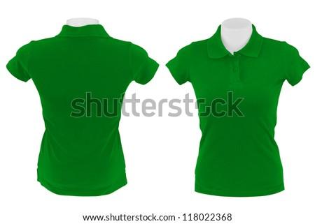 green polo shirt on white background - stock photo