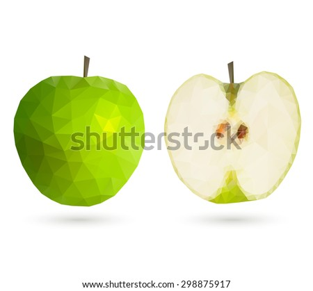 Green polygonal geometric apple, full and a half, isolated on white background.