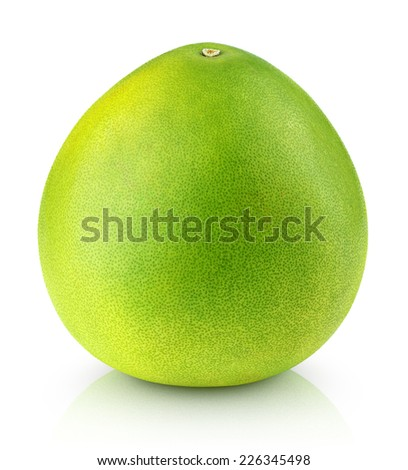 Green pomelo citrus fruit isolated on white with clipping path - stock photo