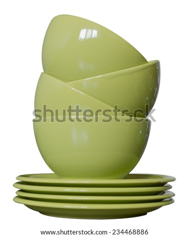 green porcelain bowls and plates isolated on white