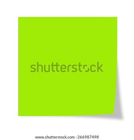 Green post it isolated on a white background  - stock photo