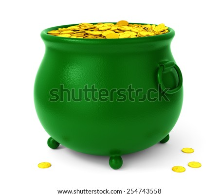 Green pot with gold coins isolated on white background. St Patricks days celebration concept. - stock photo
