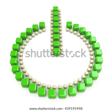 Green power button isolated on a white background in the design of the information related to the interface. 3d illustration - stock photo